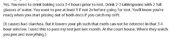 baking soda drug test instructions